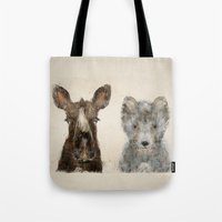 the little wolf and little moose Tote Bag