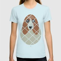 Basset Womens Fitted Tee Light Blue SMALL