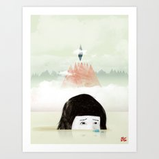 Girl Mountain Art Print