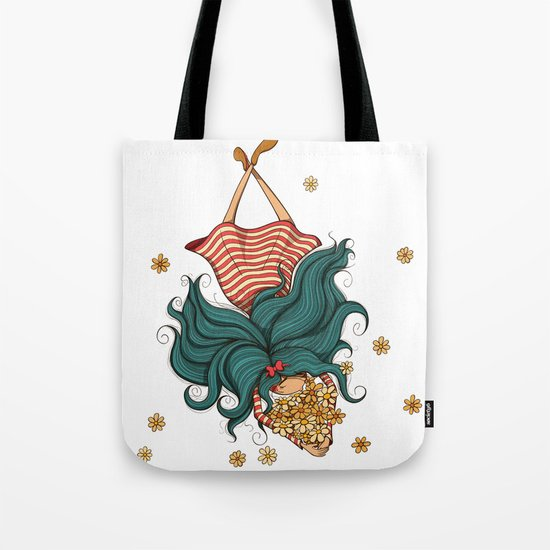 Girl and flowers Tote Bag
