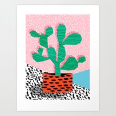 Cool Hang - cactus minimal retro memphis design 1980s 80s style dots pattern pink neon desert art Art Print