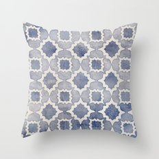 Worn & Faded Navy Denim Moroccan Pattern in grey blue & white Throw Pillow