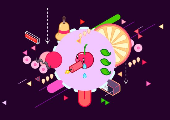 Tasty Visuals - Cherry Poppin' (No Grid) Art Print