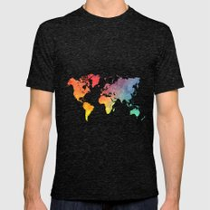 Map Of The World Colored Mens Fitted Tee Tri-Black SMALL