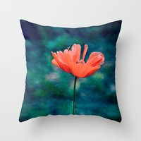 Lonely Poppy Throw Pillow