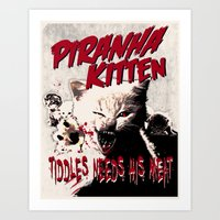 Pirahna Kitten Art Print