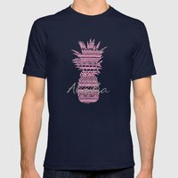 Pink Paradise  Mens Fitted Tee Navy SMALL