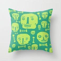 Skulls & Bones I - Green Throw Pillow