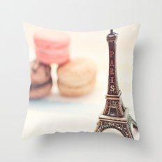 Macaron and Mini Eiffel Tower Throw Pillow