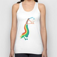 Tank Tops featuring Fat Unicorn on Rainbow Jetpack by Picomodi