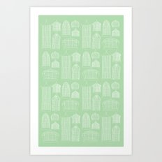 Birdcages (Green) Art Print