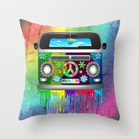 Hippie Van Dripping Rain… Throw Pillow