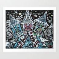 Christmas Snow Village O… Art Print