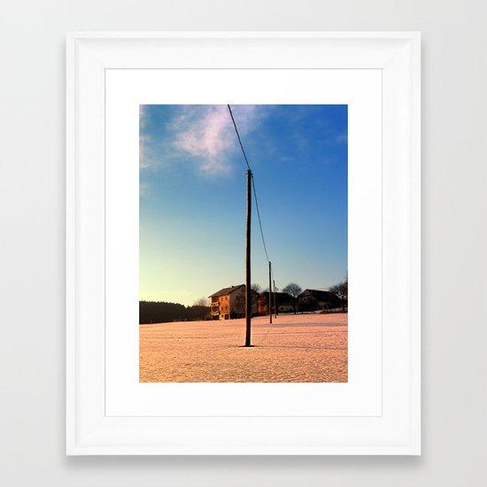 Powerline, sundown and winter wonderland | landscape photography Framed Art Print