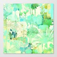 turquoise floral Canvas Print