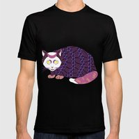 Abstract Cat [WHITE] Mens Fitted Tee Black SMALL