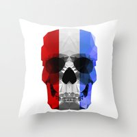 Polygon Heroes - The Patriot Skull Throw Pillow