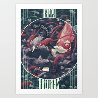 Christmas Squid Art Print