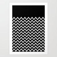 White Chevron On Black Art Print