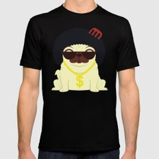 Pug in bling SMALL Black Mens Fitted Tee
