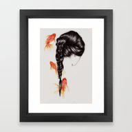 Framed Art Print featuring Hair Sequel III by The White Deer