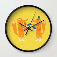 Posh Foxes Like To Box W… Wall Clock