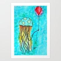 Jellyfish and Balloon Art Print