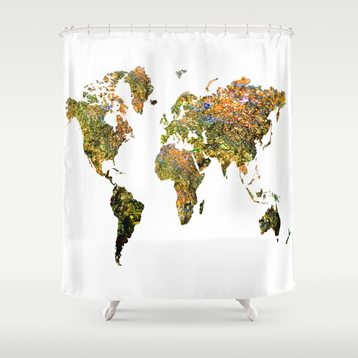 World Map Shower Curtain By Haroulita