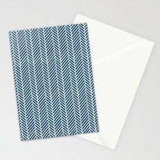 Herringbone Navy Inverse Stationery Cards