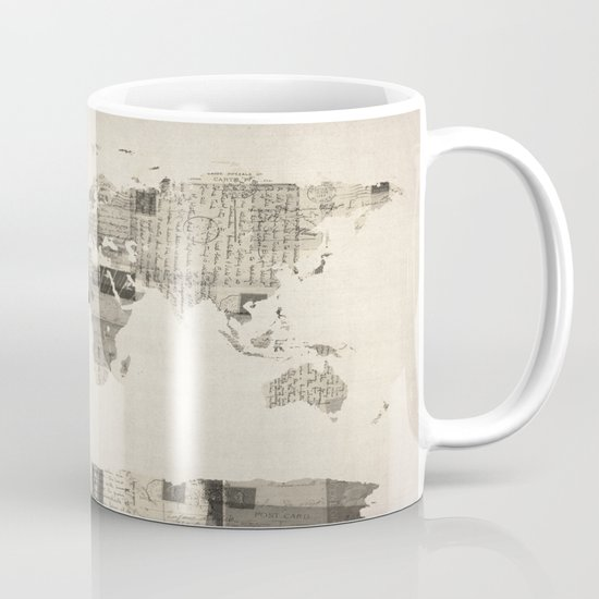 Map of the World Map from Old Postcards Mug