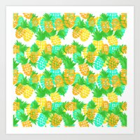 Watercolor Pineapples Tropic Art Print