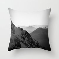 Mountain Side Black and White Photo Europe Nature Throw Pillow