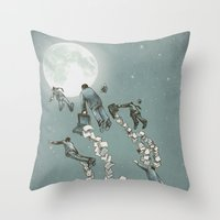 Flight of the Salary Men (color option) Throw Pillow