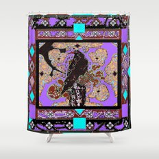 Western Black Crow Brown-Turquoise Lavender Abstract Shower Curtain