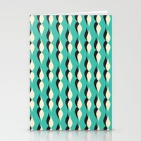 Turquoise Petal Lines  Stationery Cards