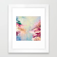 WINTER DREAMLAND 1 Colorful Pastel Aqua Marsala Burgundy Cream Nature Sea Abstract Acrylic Painting  Framed Art Print