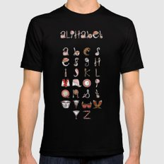 Spills & Spoons Alphabet SMALL Black Mens Fitted Tee