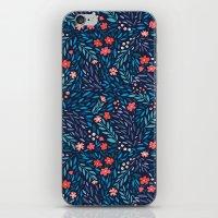 Teeny Tiny Floral Blue iPhone & iPod Skin