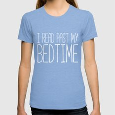 I Read Past My Bedtime. Womens Fitted Tee Tri-Blue SMALL