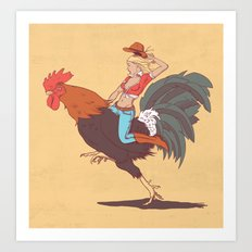 Girl Riding a Cock Art Print