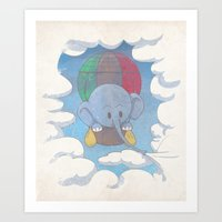Elephant Balloon Art Print