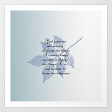 Serenity Prayer with Leaf Art Print