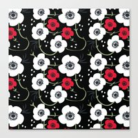 Anemone Print on Black Canvas Print