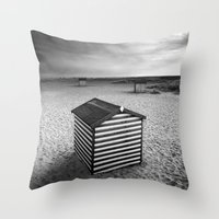Beach Huts, Great Yarmouth Throw Pillow
