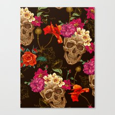 Flowers And Skull Canvas Print