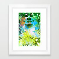 Moai In Green Framed Art Print