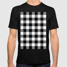 Gingham (Black/White) Mens Fitted Tee Tri-Black SMALL