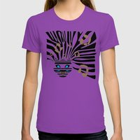 Leopard Zebra crossover Womens Fitted Tee Ultraviolet SMALL