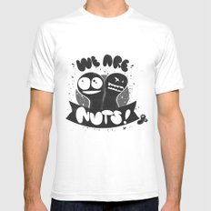We are nuts! SMALL White Mens Fitted Tee