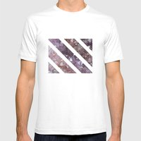 IPHONE: StripedSquareGEO Mens Fitted Tee White SMALL